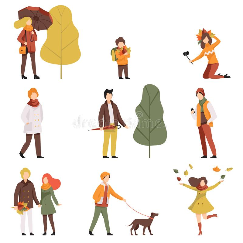 Ludzie w ciepłych jesieni ubraniach ustawiających, młodych człowiekach i kobietach chodzi, ubierali wewnątrz outwear przypadkowyc ilustracji