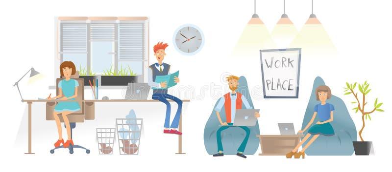 Ludzie w coworking centrum lub biurze Mężczyzna i kobiety w przypadkowych ubraniach pracują z papierowymi documens i laptopami i ilustracja wektor