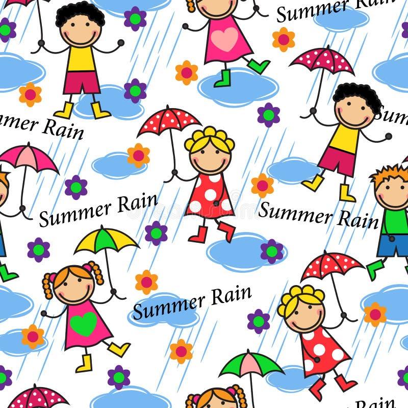 Ludzie w deszczu royalty ilustracja