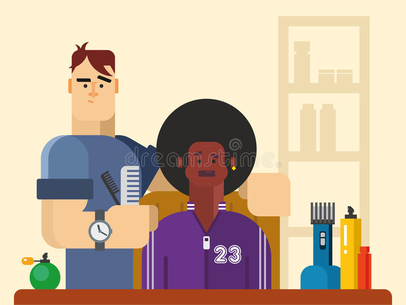 Ludzie w fryzjera męskiego sklepie royalty ilustracja