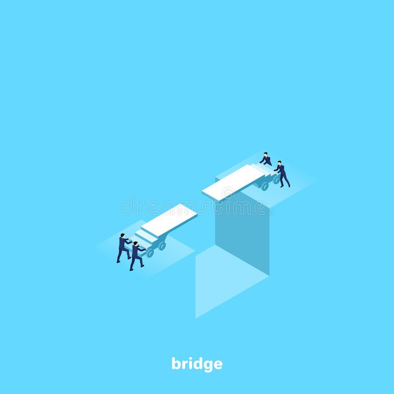 Ludzie w garnitur próbie przerzucać most przerwę ilustracji