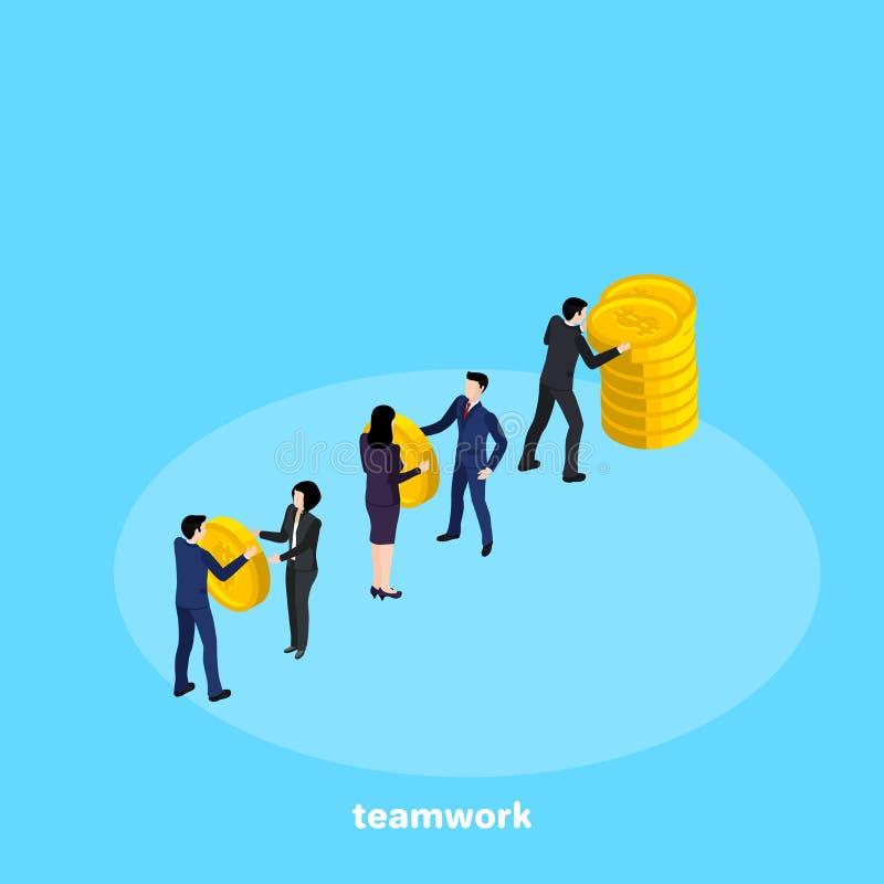 Ludzie w garniturach pracują w drużynie, isometric ilustracja wektor