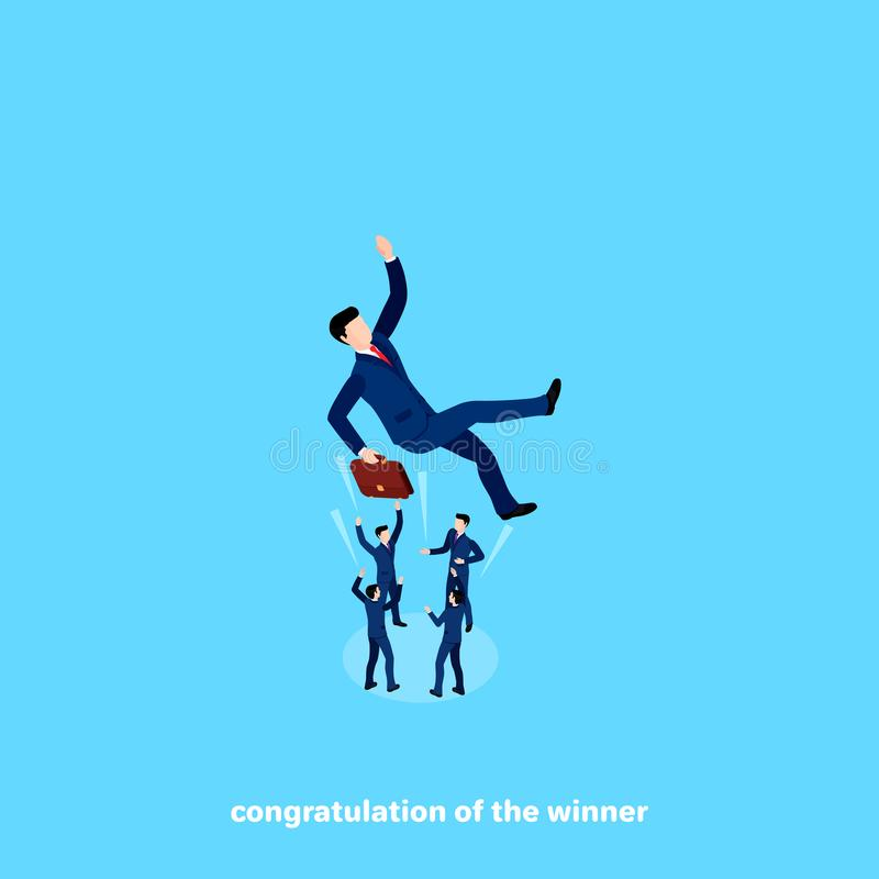 Ludzie w garniturach rzucają up kolegi gratulowanie na sukcesie ilustracja wektor
