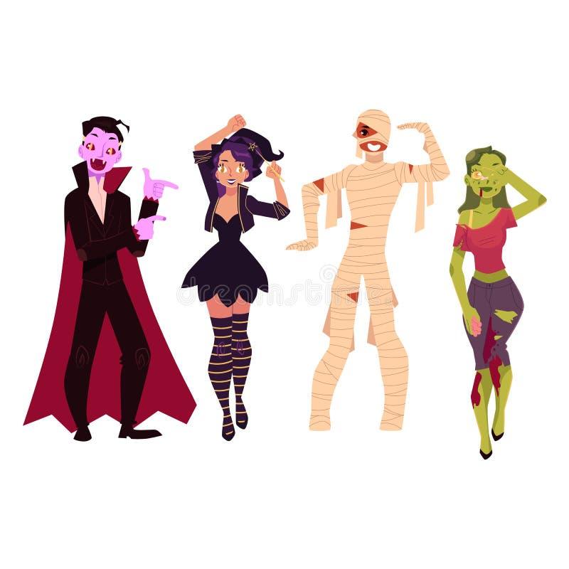 Ludzie w Halloween bawją się kostiumy - czarownica, żywy trup, wampir, Dracula, mamusia royalty ilustracja