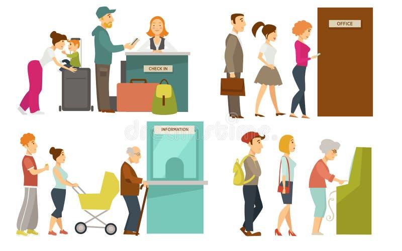 Ludzie w kolejce wykładają odprawy lotniska lub biletowego biura kontuaru kreskówki wektorowe ikony ilustracja wektor