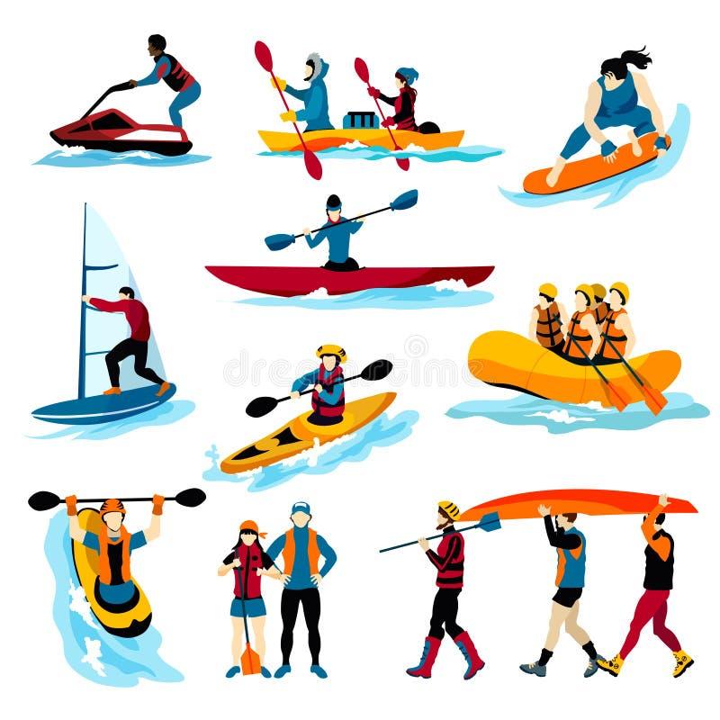 Ludzie W Krańcowych Wodnych sportów koloru ikonach ilustracji