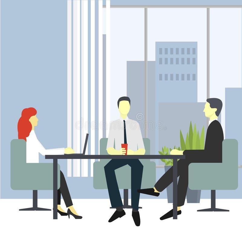 Ludzie w krzesłach przy opowiadać, brainstorming i negocjować biurka, ilustracja wektor