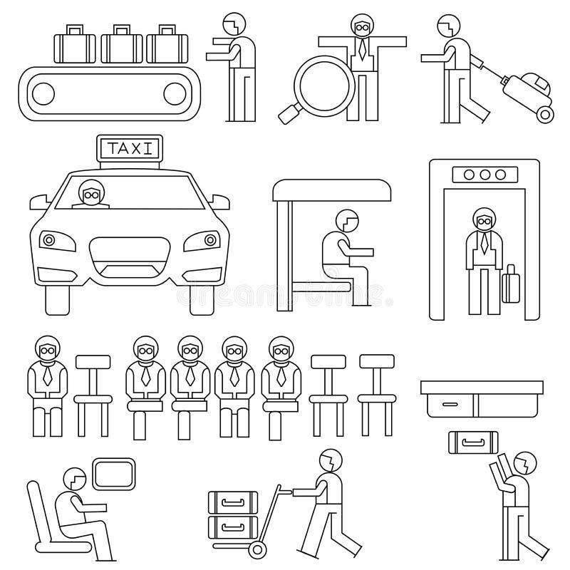 Ludzie w lotniskowych ikonach ilustracji