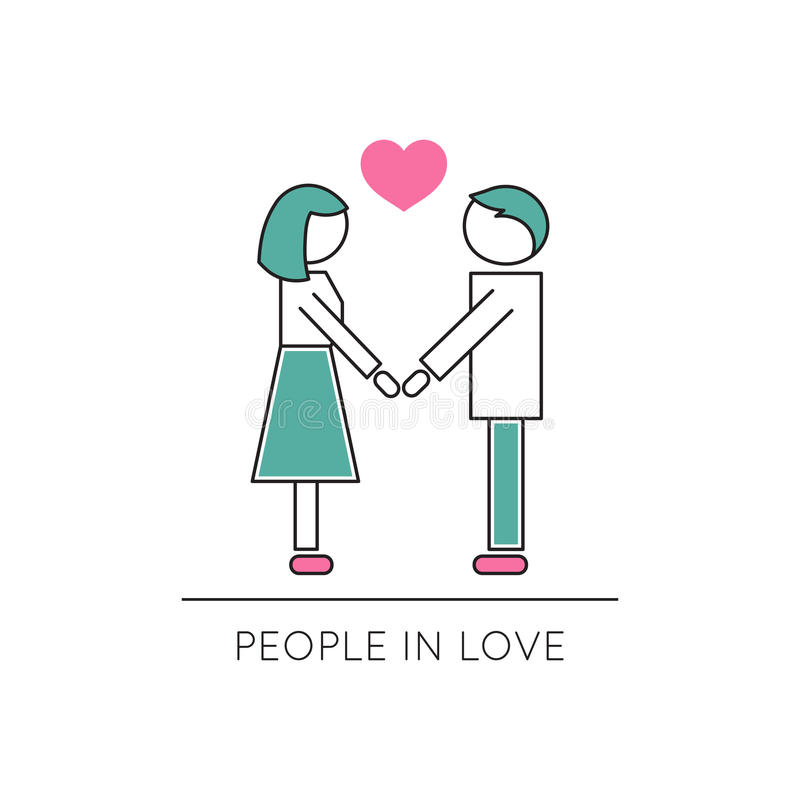 Ludzie w miłości linii ikonie ilustracji