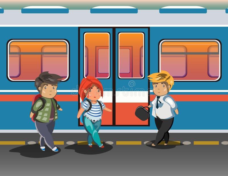 Ludzie w miasta metrze royalty ilustracja