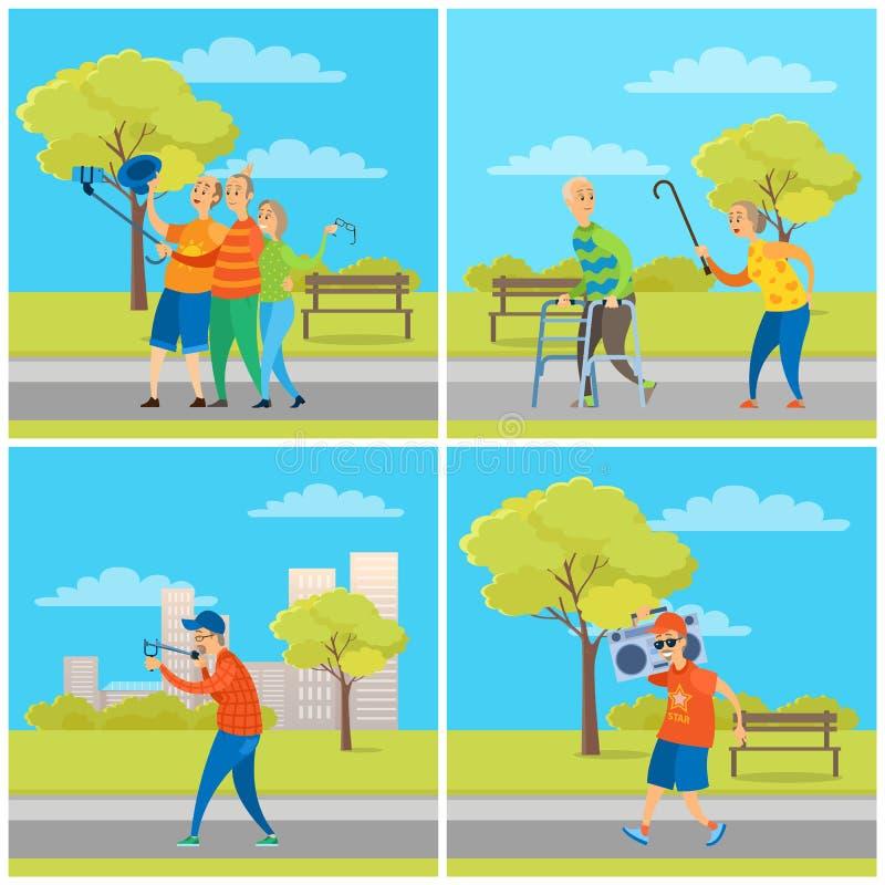 Ludzie w miasto parku, starsze osoby mężczyzna i kobieta set, ilustracja wektor
