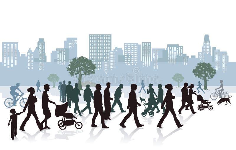 Ludzie w mieście ilustracja wektor