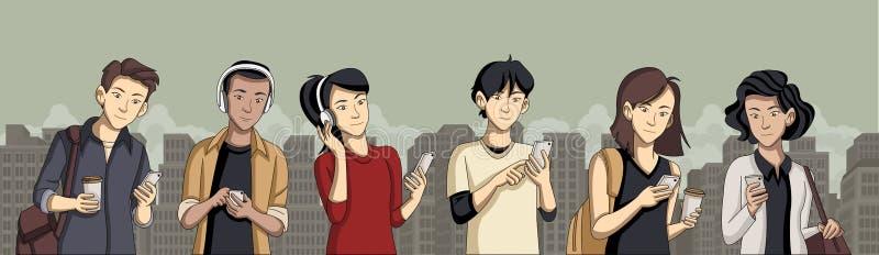 Ludzie w mieście z mądrze telefonami ilustracja wektor