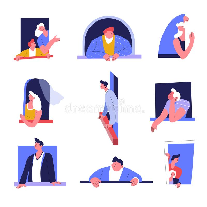 Ludzie w okno lub opierać na windowsill budynku mieszkaniowym odizolowywali ikony ilustracji