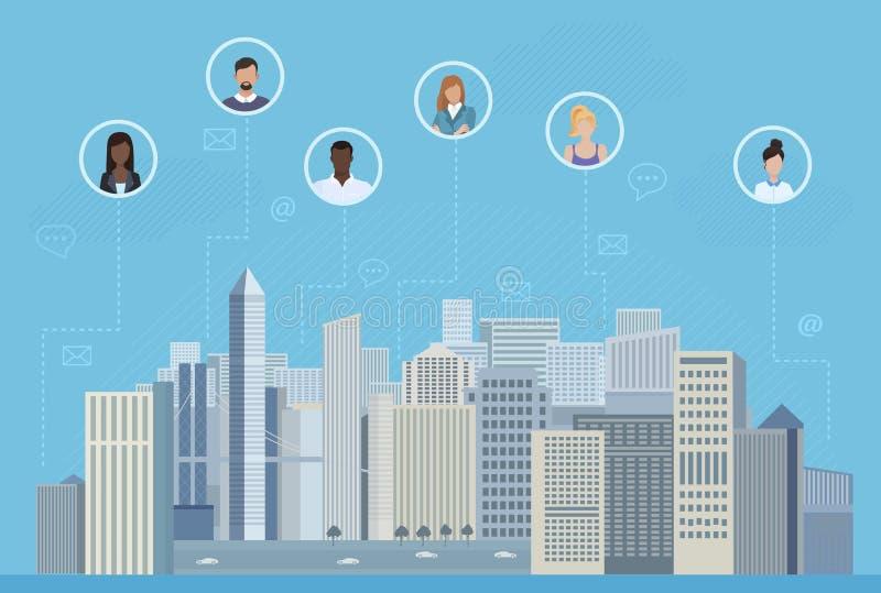 Ludzie w okręgach w mieście komunikuje wektorową ilustrację Ogólnospołeczni środki i ogólnospołeczny sieci pojęcie royalty ilustracja