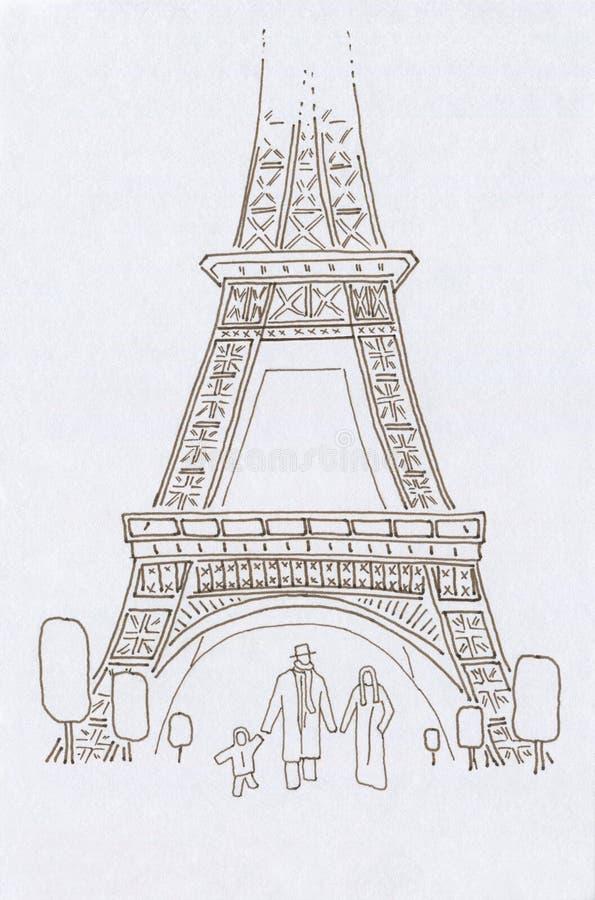 Ludzie w Paris szczęśliwe rodzinne 3 ilustracji