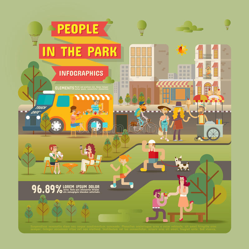 Ludzie w Parkowych Infographic elementach ilustracja wektor