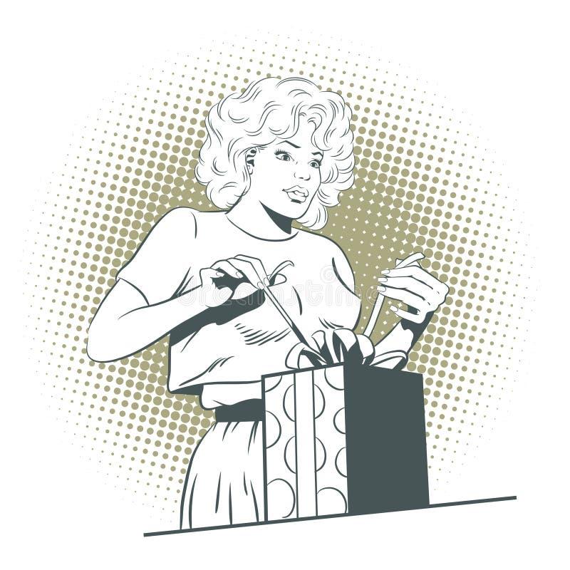 Ludzie w retro stylu Śliczna dziewczyna otwiera prezent ilustracji