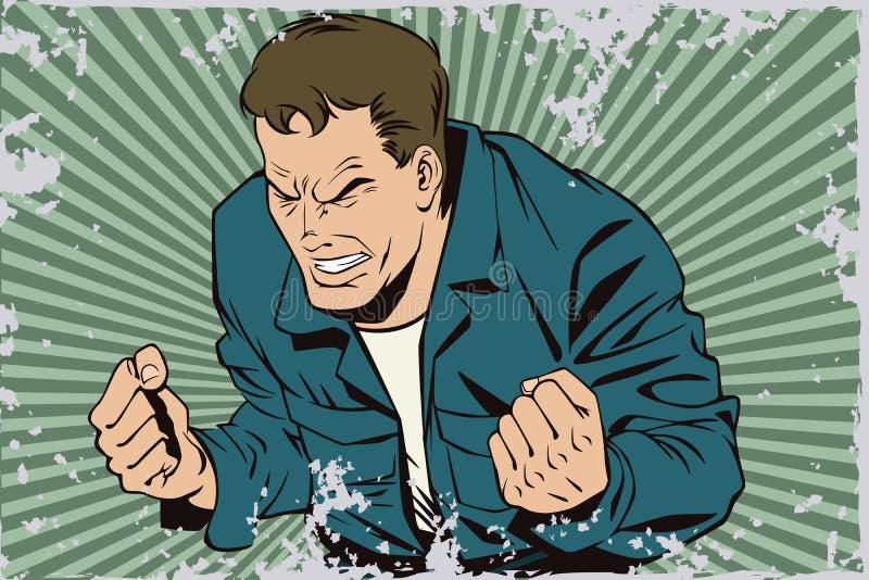 Ludzie w retro stylu Furia mężczyzna krzyczeć ilustracja wektor