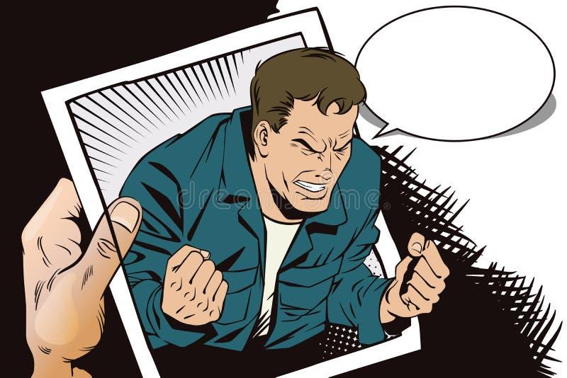 Ludzie w retro stylu Furia mężczyzna krzyczeć ilustracji