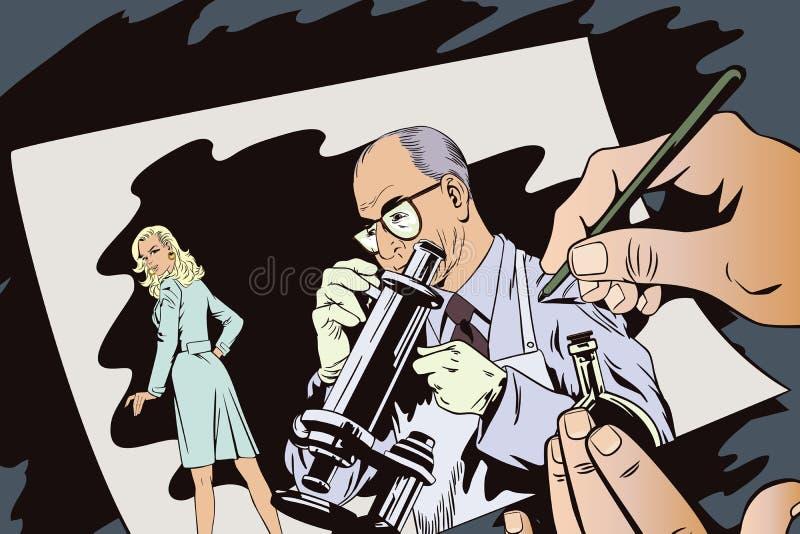 Ludzie w retro stylu Naukowiec z mikroskopem ilustracji