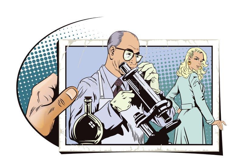 Ludzie w retro stylu Naukowiec z mikroskopem royalty ilustracja