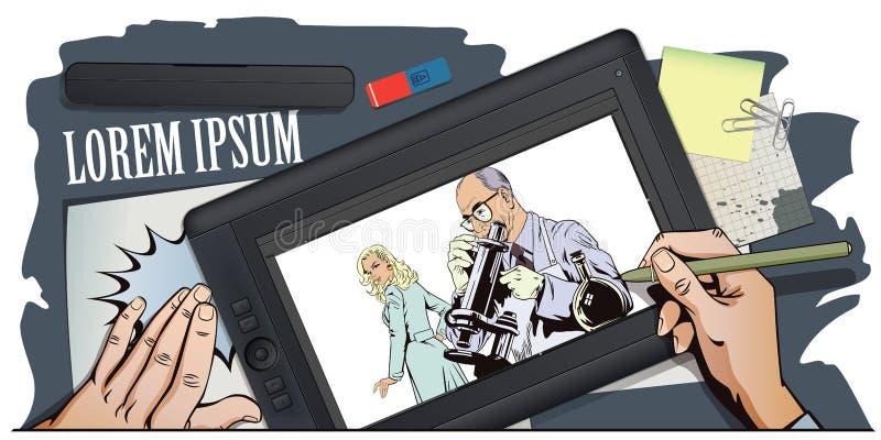 Ludzie w retro stylu Naukowiec z mikroskopem ilustracja wektor