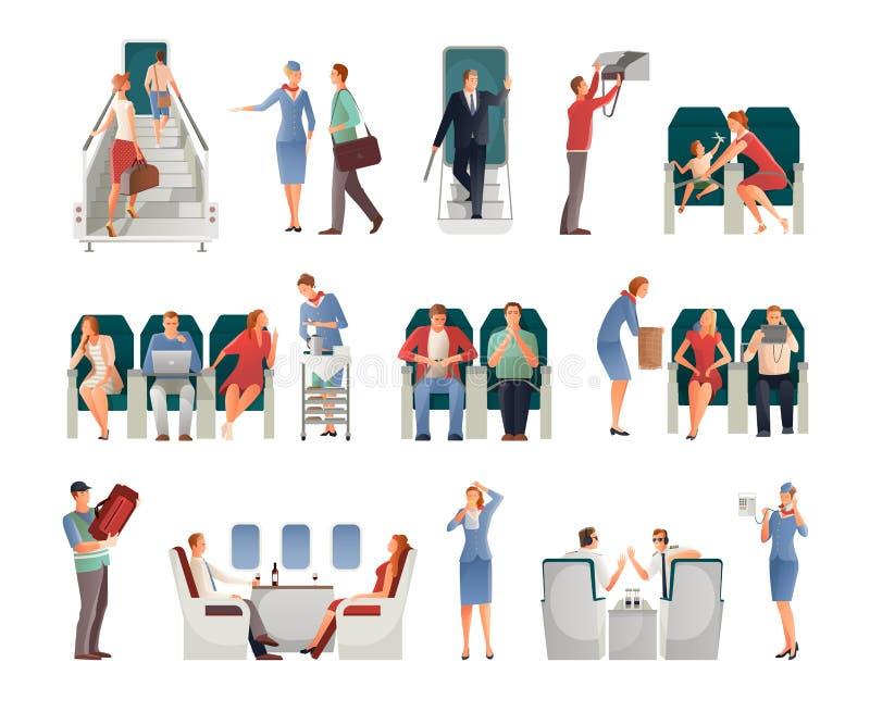 Ludzie W samolotu secie ilustracja wektor