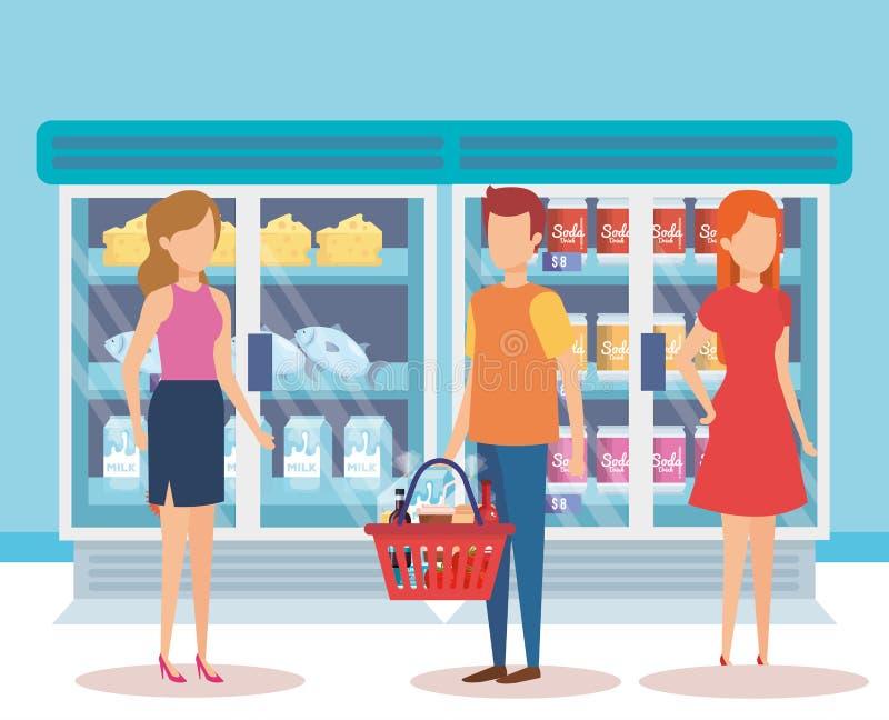 Ludzie w supermarket chłodziarce z produktami royalty ilustracja