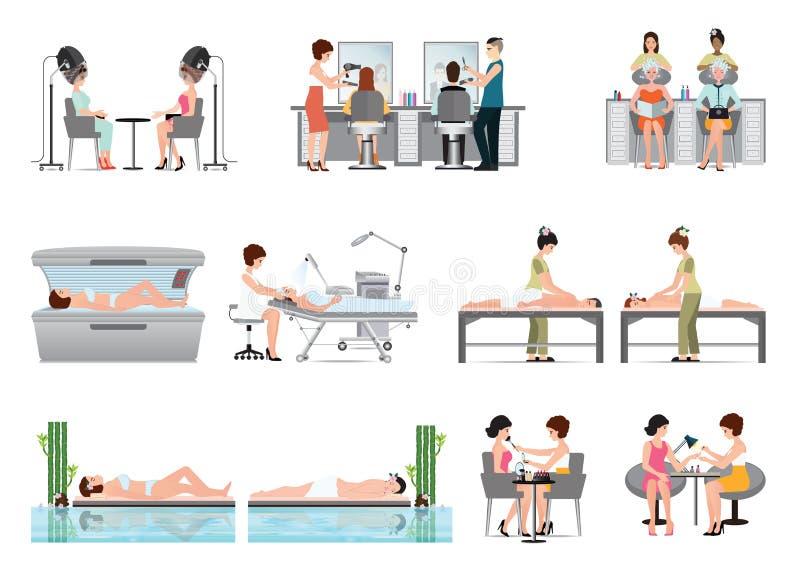 Ludzie w zdroju piękna salonie i różnorodne piękno procedury odizolowywają royalty ilustracja