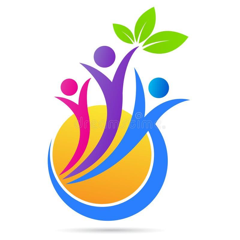 Ludzie wellness loga opieki zdrowotnej natury liścia słońca symbolu ikony wektorowego projekta ilustracji