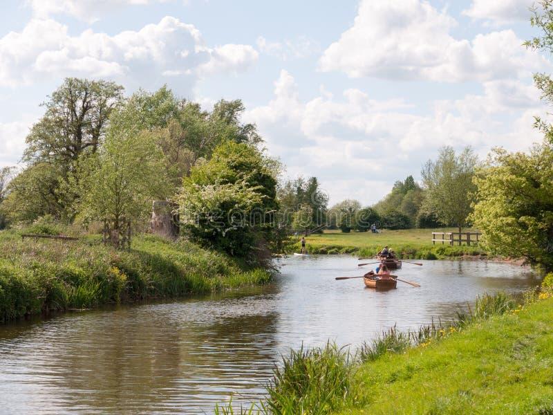Ludzie wioślarskich łodzi zestrzelają rzecznego stour w dedham Essex uk Engl fotografia royalty free