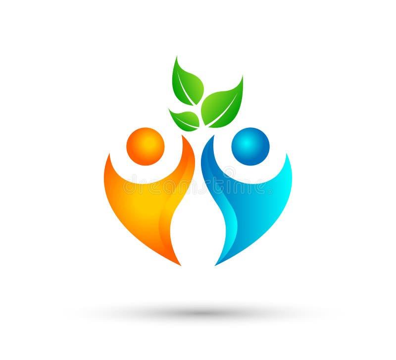 Ludzie wp?lnie zieleniej? li?? ikony logo drzewnego szablon ilustracji