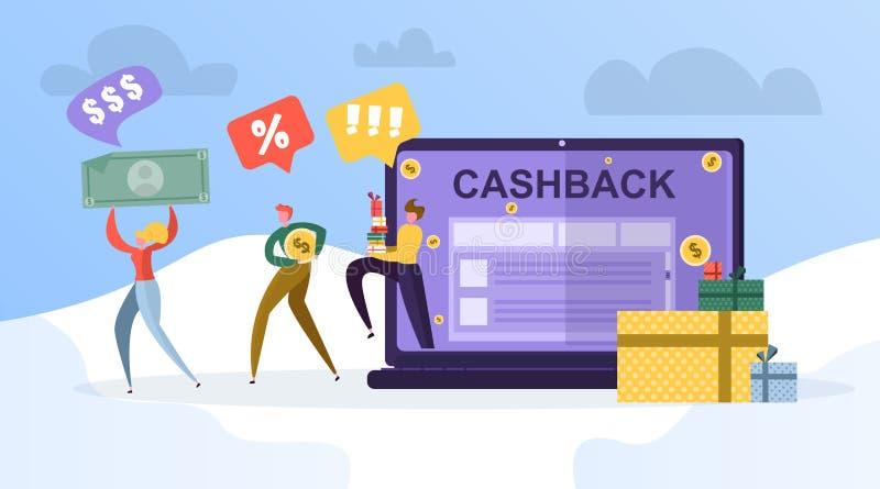 Ludzie wracają część ich pieniądze przez podaniowego cashback royalty ilustracja
