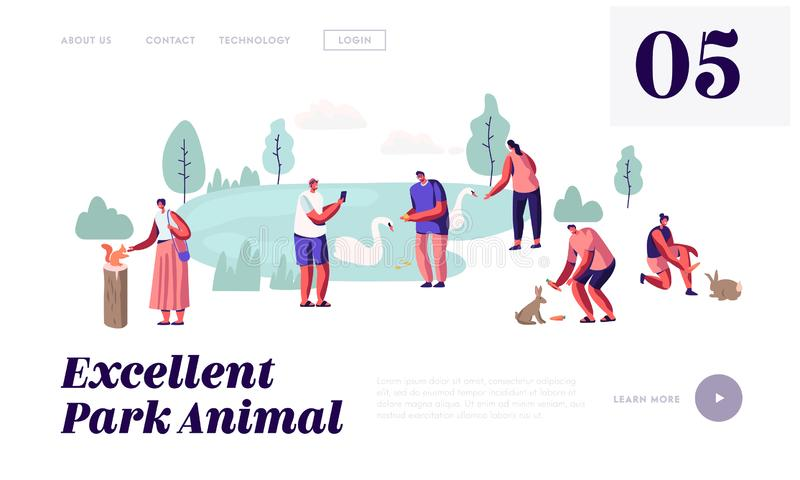 Ludzie Wydają czas w Zwierzęcym parku Czas wolny w Outdoors zoo z dzikimi zwierzętami, karmienie, Bawić się, Bierze obrazki, Spar ilustracji