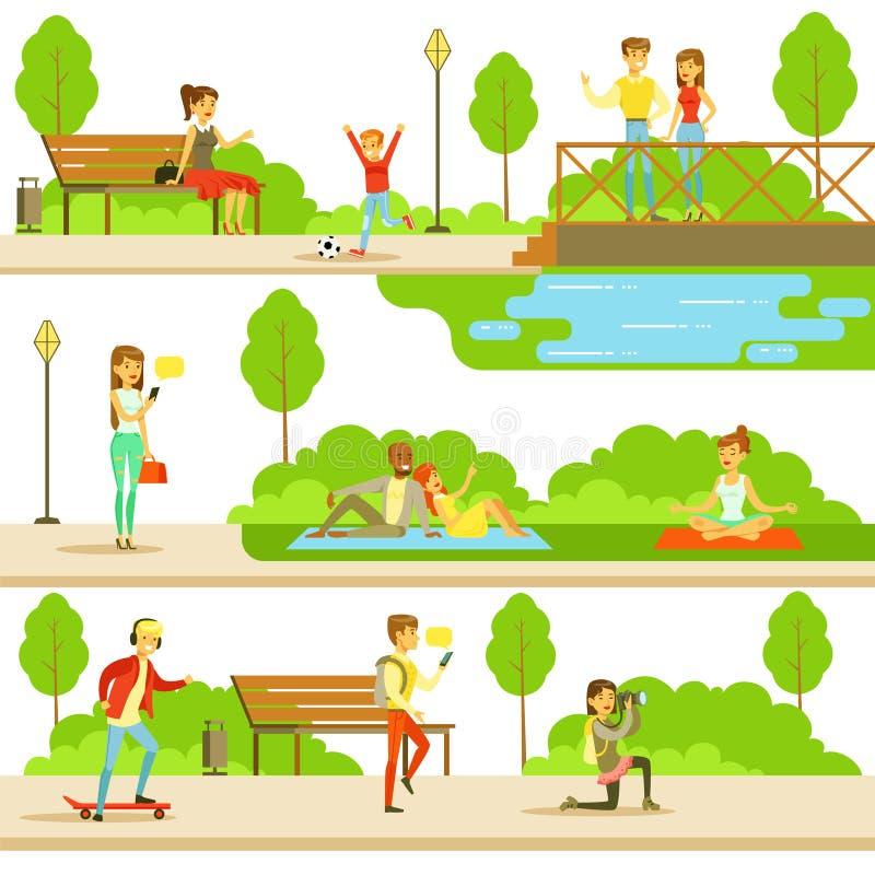Ludzie Wydaje czas W parku W lecie Ustawiającym ilustracje ilustracji