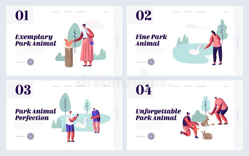 Ludzie Wydaje czas w Zwierzęcego parka strony internetowej lądowania strony secie Czas wolny w Outdoors zoo z dzikimi zwierzętami ilustracji