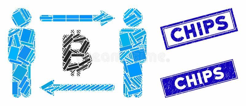 Ludzie wymieniają Mozaikę Bitcoinową i Sratched Rectangle Chips Pieczęć Pieczęć Pieczęć royalty ilustracja