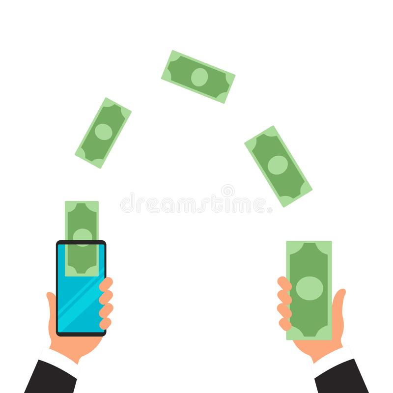 Ludzie wysyła pieniądze radio z ich telefonami komórkowymi i otrzymywa Wręcza stukać mądrze telefon z bankowości zapłatą app royalty ilustracja