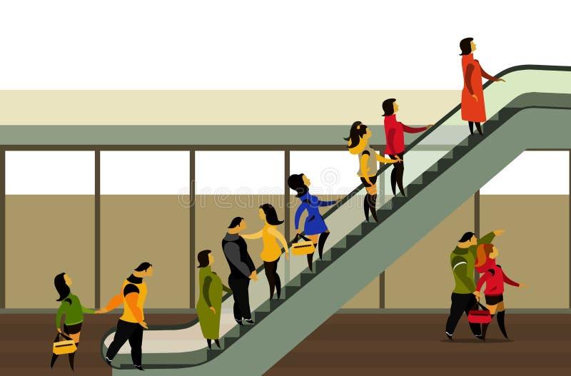 Ludzie wzrosta na eskalatorze ilustracji
