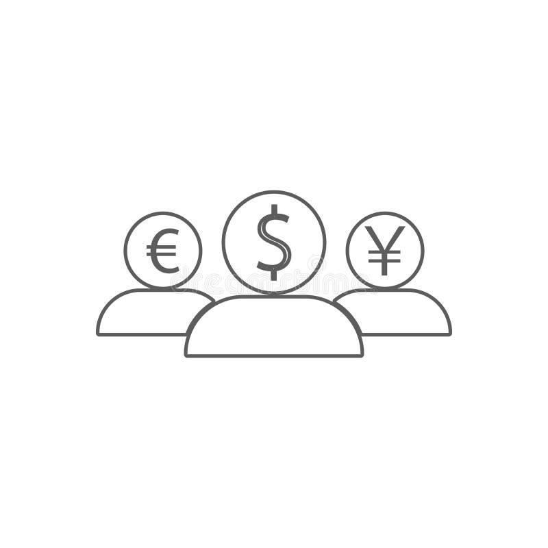 ludzie z głowami różna waluty ikona Element finanse dla mobilnego pojęcia i sieci apps ikony Kontur, cienieje linię ilustracji