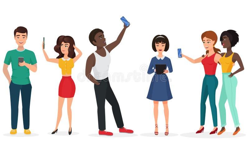 Ludzie z gadżetami robi selfie Faceci i dziewczyny, komunikujący telefonem i pastylkami obcy kreskówki kota ucieczek ilustraci da royalty ilustracja