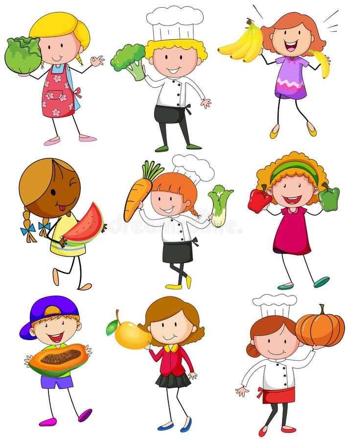 Ludzie z owoc i warzywo ilustracji