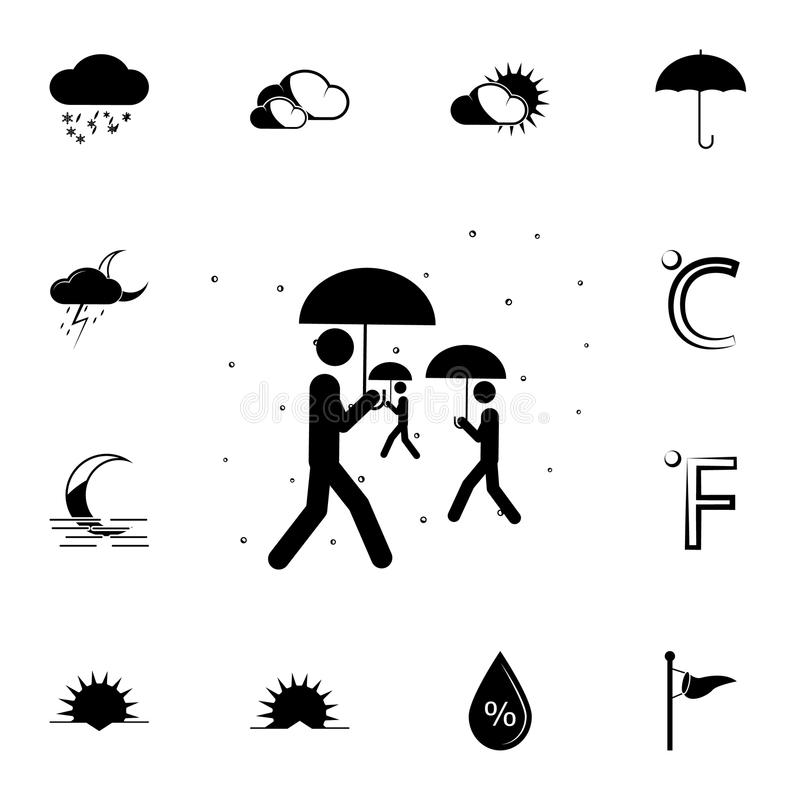 ludzie z parasol ikoną Szczegółowy set Pogodowe ikony Premia graficzny projekt Jeden inkasowe ikony dla stron internetowych, sieć royalty ilustracja
