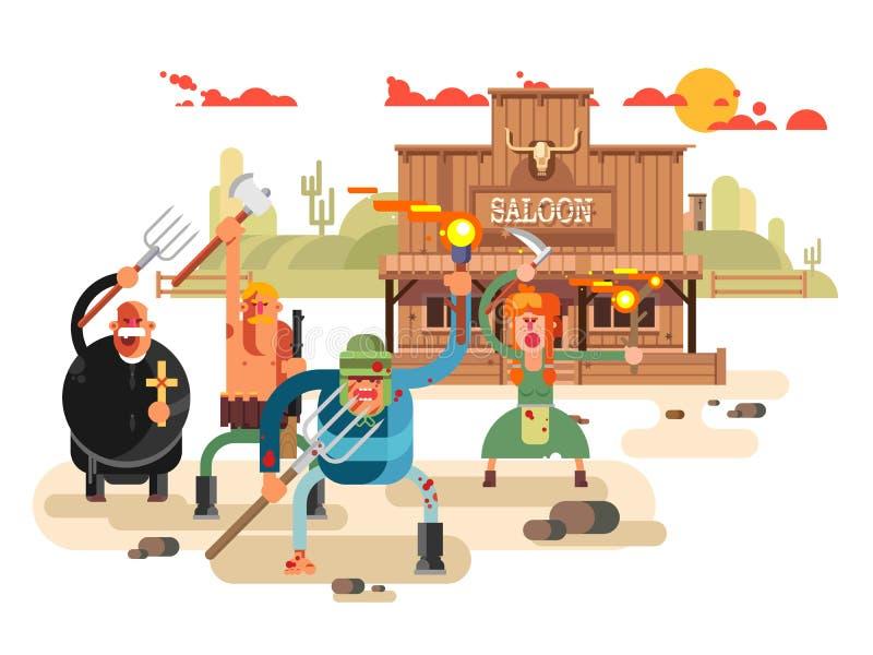 Ludzie z pochodniami i pitchforks ilustracji
