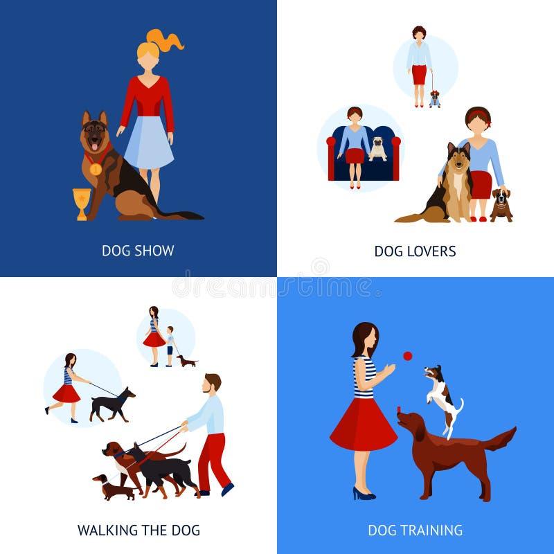 Ludzie Z psami Ustawiającymi royalty ilustracja