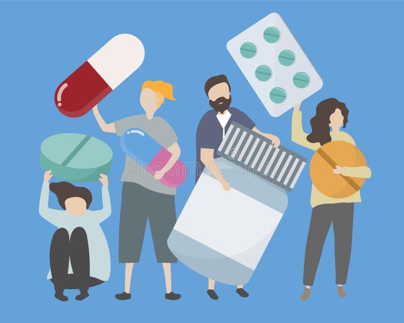 Ludzie z różnorodnymi lekami i pigułki ilustracyjne royalty ilustracja