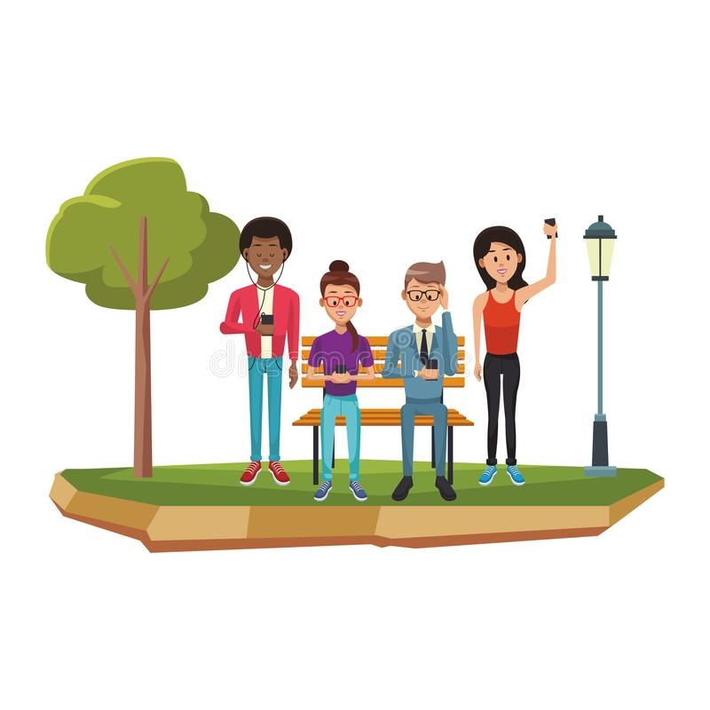 Ludzie z smartphones ilustracji