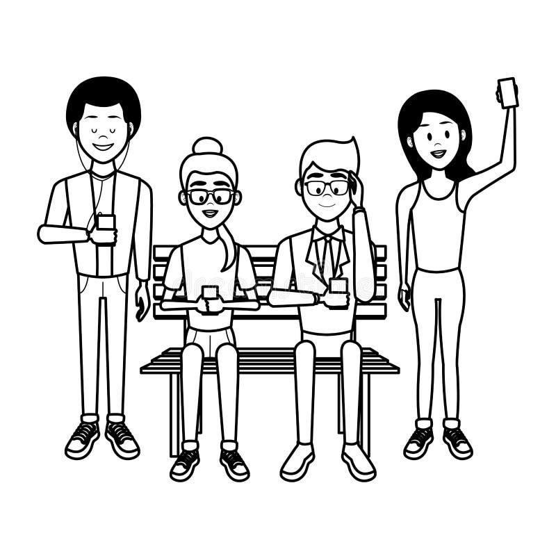 Ludzie z smartphones royalty ilustracja