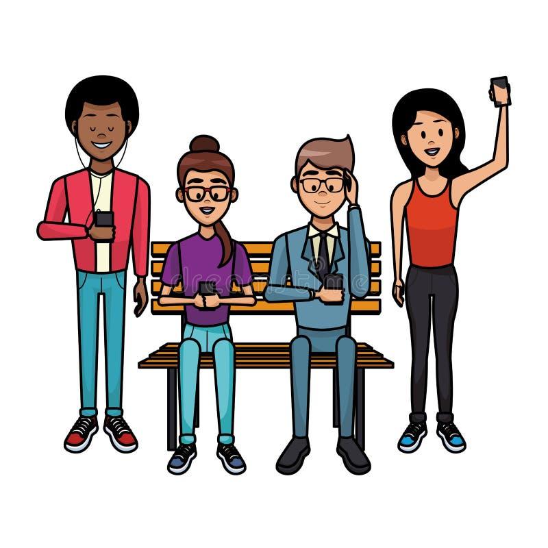 Ludzie z smartphones ilustracja wektor